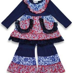 Other - NEW Navy Blue & Red Boutique Lace Ruffle Outfit
